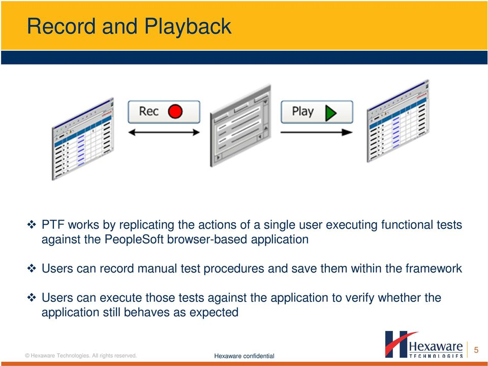 manual test procedures and save them within the framework Users can execute those