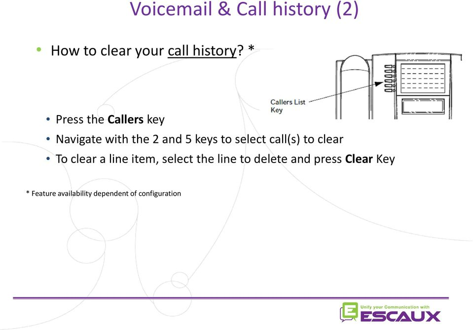 call(s) to clear To clear a line item, select the line to delete