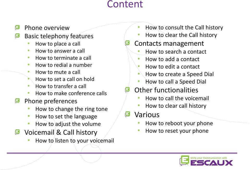 How to listen to your voicemail How to consult the Call history How to clear the Call history Contacts management How to search a contact How to add a contact How to edit a