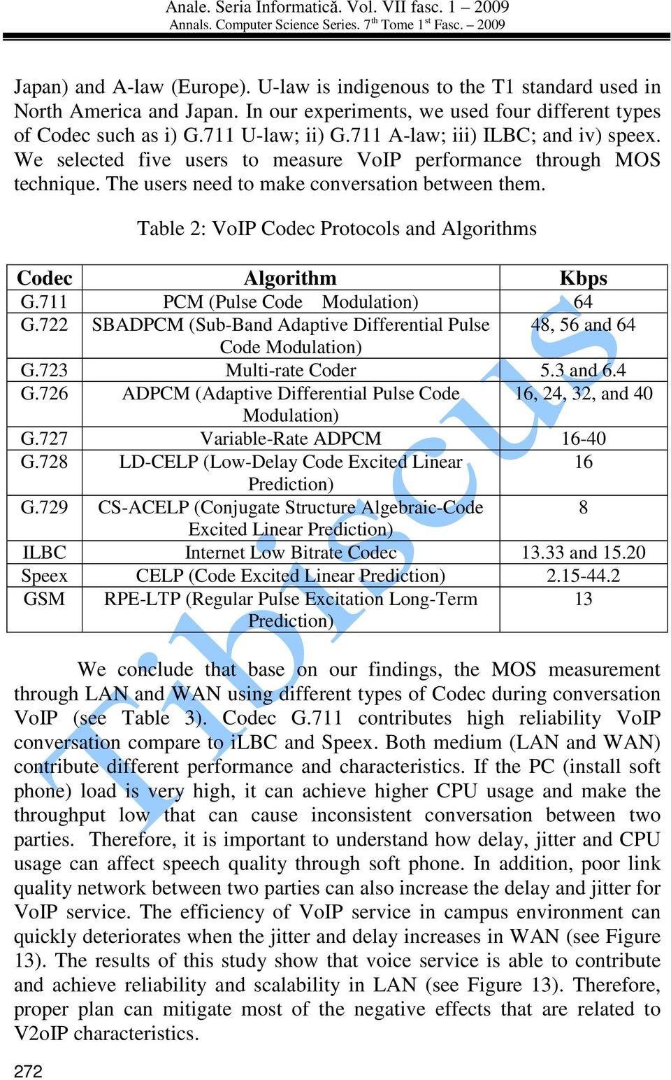 272 Table 2: VoIP Codec Protocols and Algorithms Codec Algorithm Kbps G.711 PCM (Pulse Code Modulation) 64 G.722 SBADPCM (Sub-Band Adaptive Differential Pulse 48, 56 and 64 Code Modulation) G.