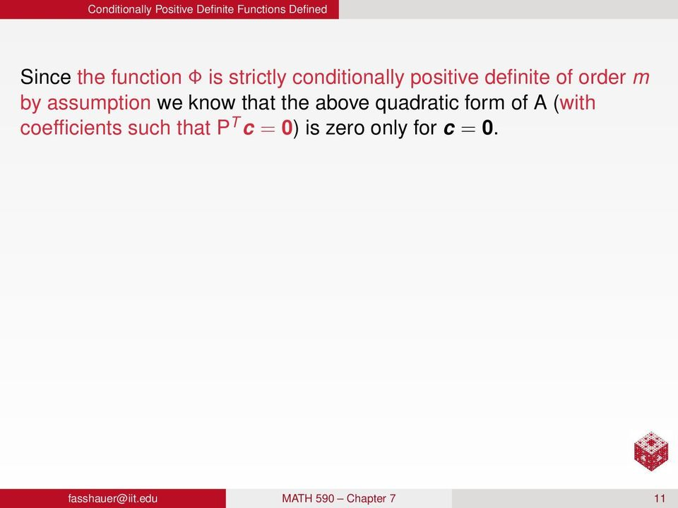 know that the above quadratic form of A (with coefficients such that P