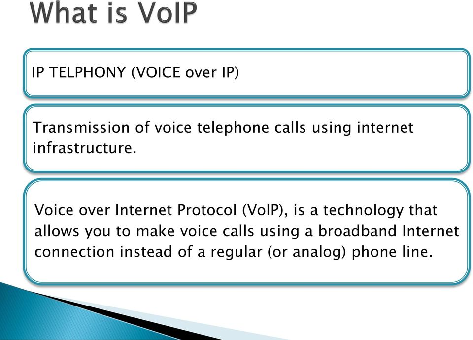 Voice over Internet Protocol (VoIP), is a technology that allows