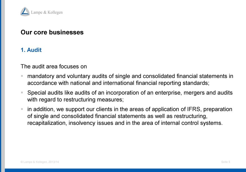international financial reporting standards; Special audits like audits of an incorporation of an enterprise, mergers and audits with regard to