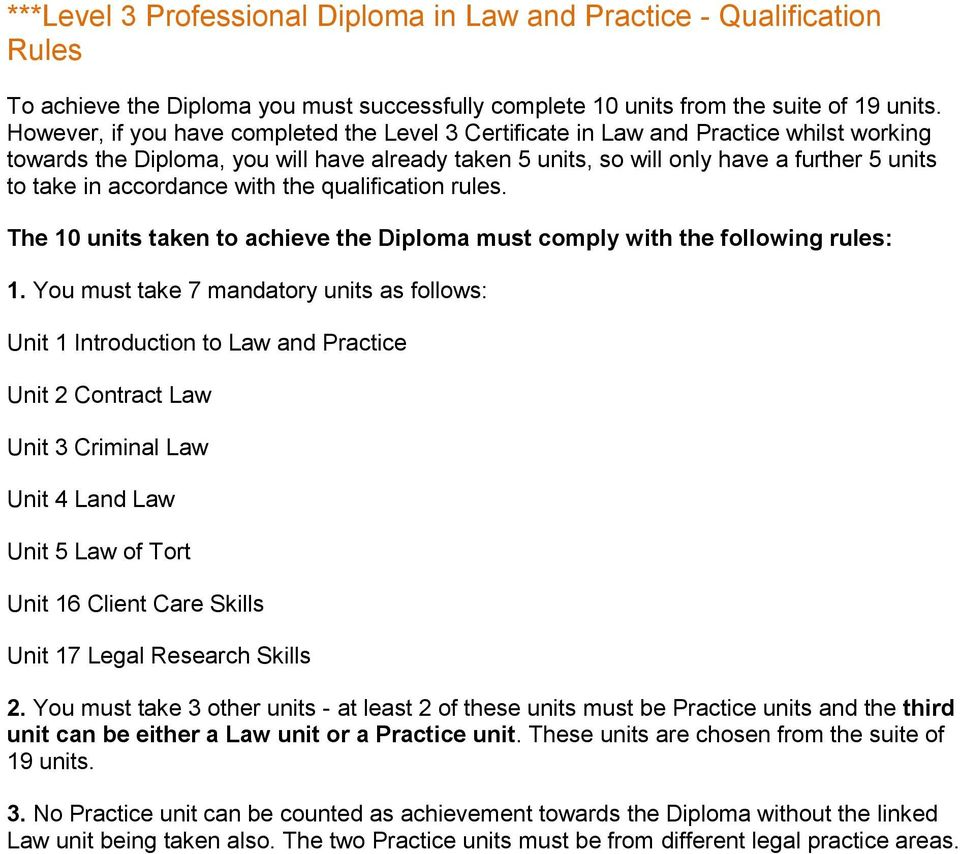 the qualification rules. The 10 units taken to achieve the Diploma must comply with the following rules: 1.