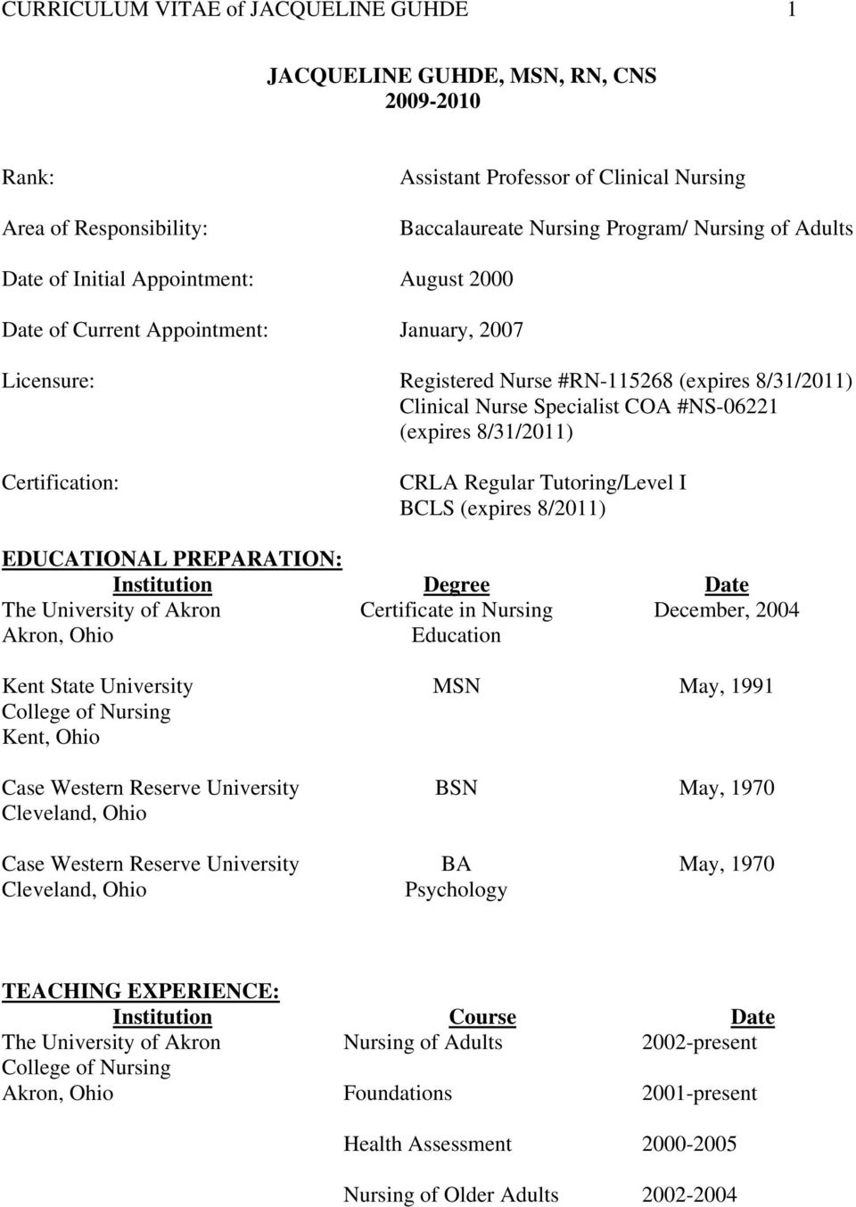8/31/2011) Certification: CRLA Regular Tutoring/Level I BCLS (expires 8/2011) EDUCATIONAL PREPARATION: Institution Degree Date Certificate in Nursing Education December, 2004 Kent State University