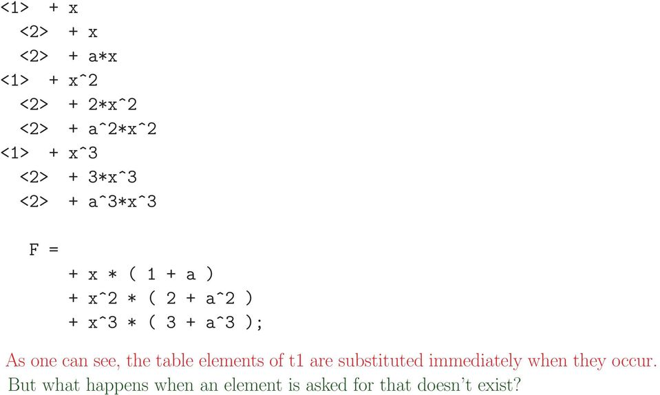 ); As one can see, the table elements of t1 are substituted immediately when