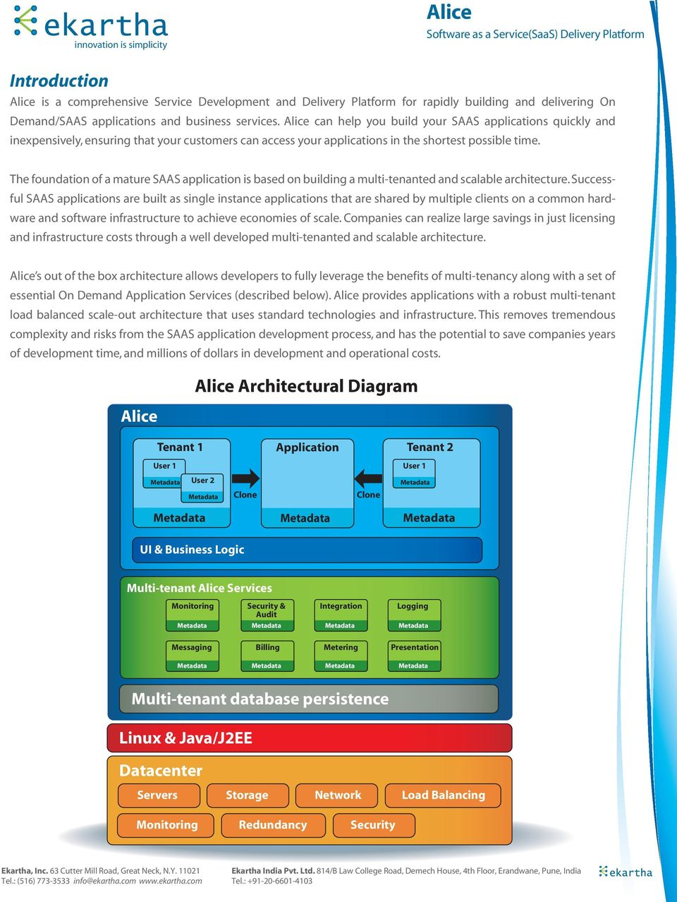 The foundation of a mature SAAS application is based on building a multi-tenanted and scalable architecture.