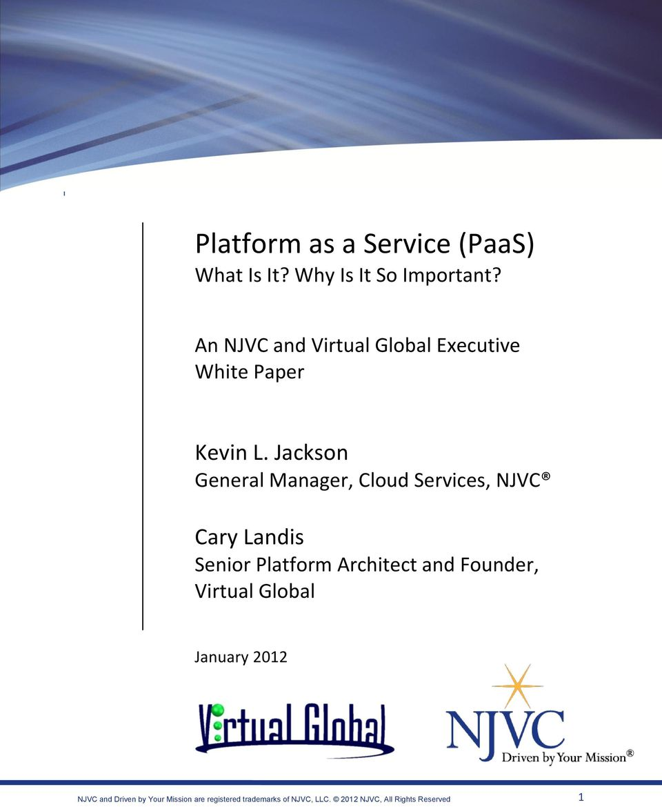An NJVC and Virtual Global Executive White Paper Kevin L.