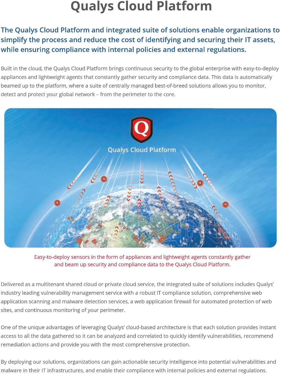 Built in the cloud, the Qualys Cloud Platform brings continuous security to the global enterprise with easy-to-deploy appliances and lightweight agents that constantly gather security and compliance