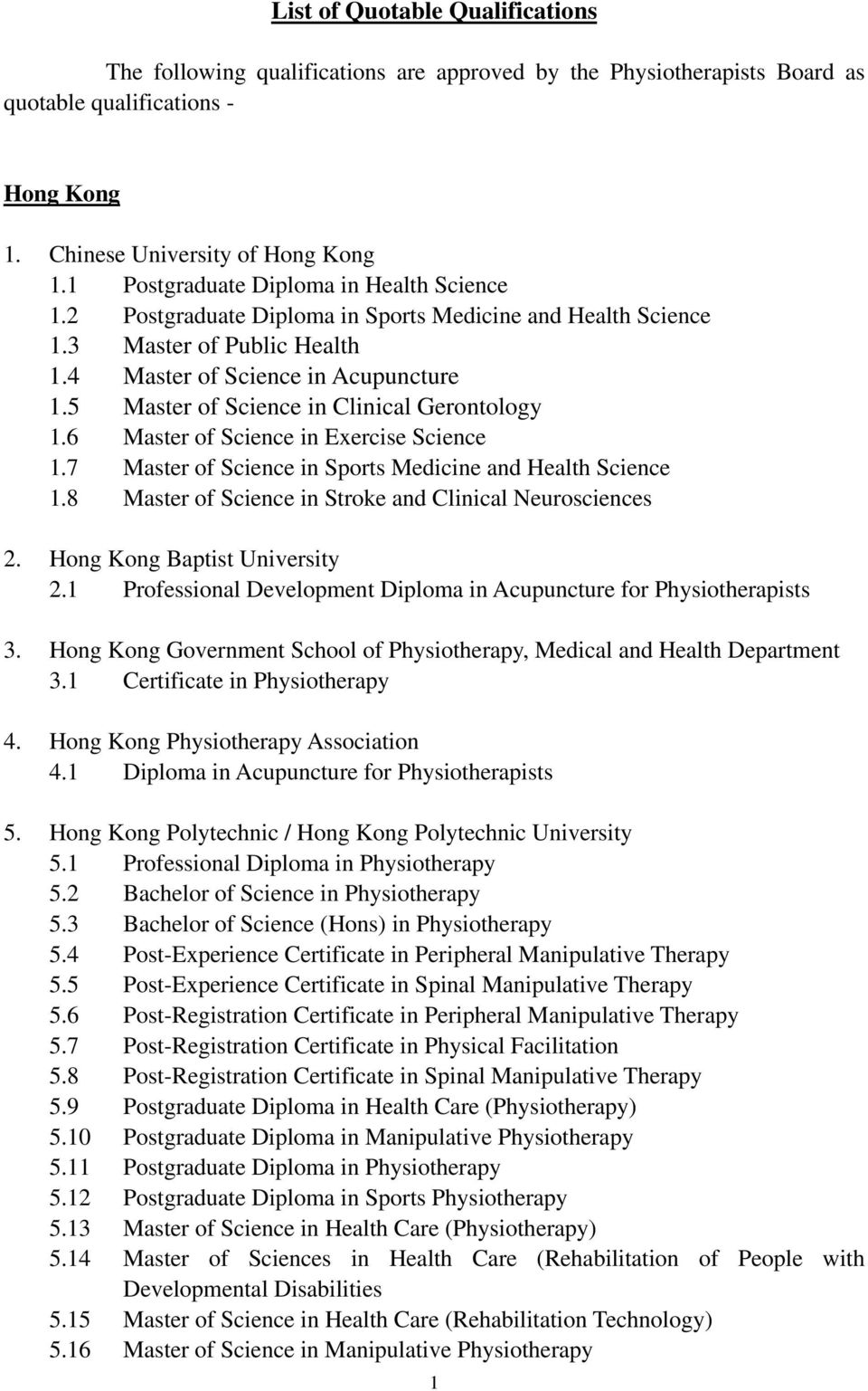 5 Master of Science in Clinical Gerontology 1.6 Master of Science in Exercise Science 1.7 Master of Science in Sports Medicine and Health Science 1.