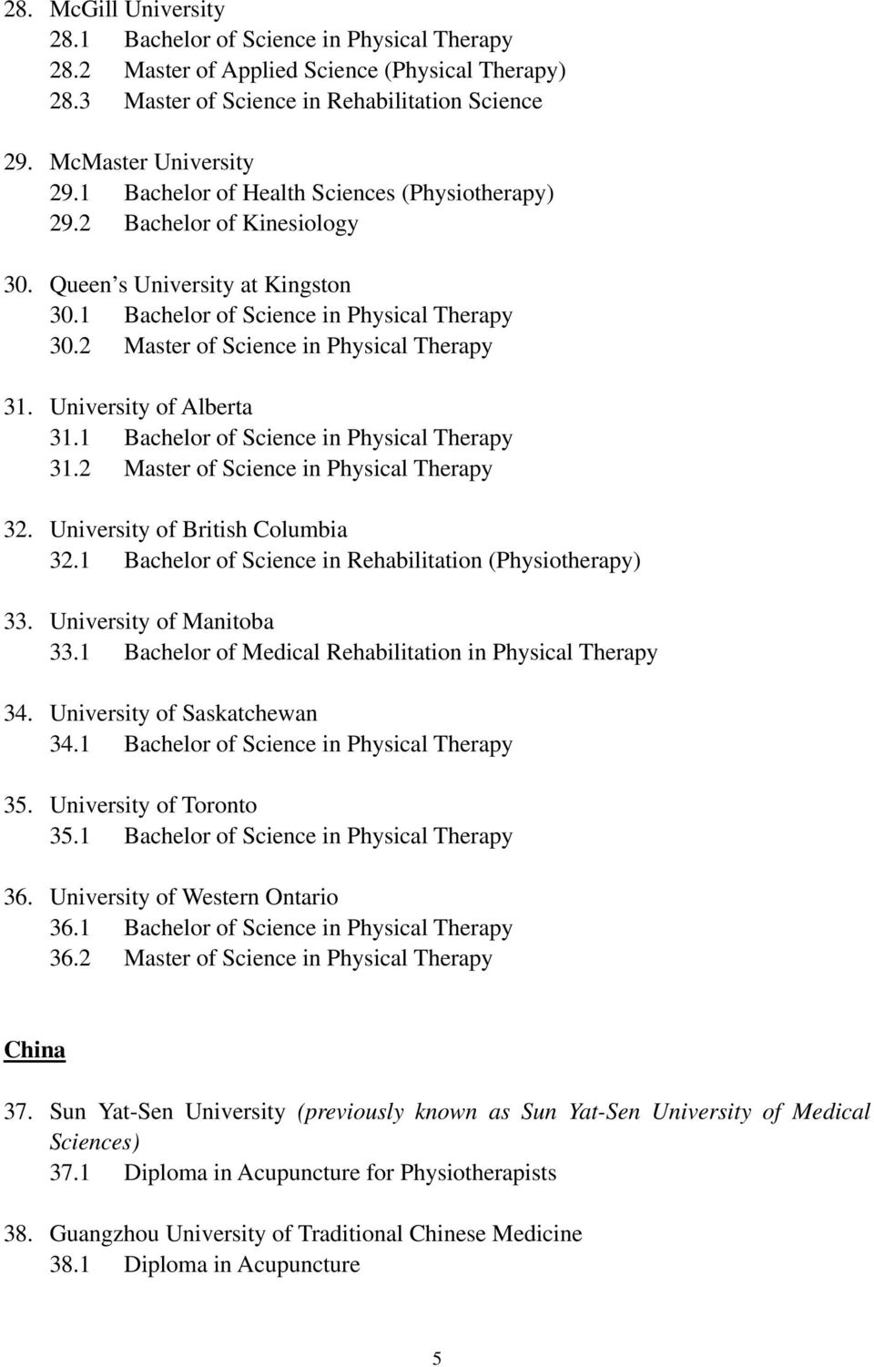 2 Master of Science in Physical Therapy 31. University of Alberta 31.1 Bachelor of Science in Physical Therapy 31.2 Master of Science in Physical Therapy 32. University of British Columbia 32.