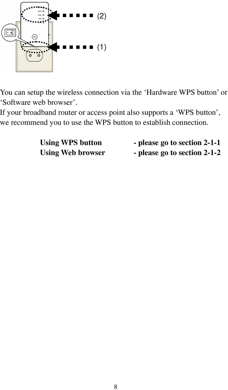 If your broadband router or access point also supports a WPS button, we recommend