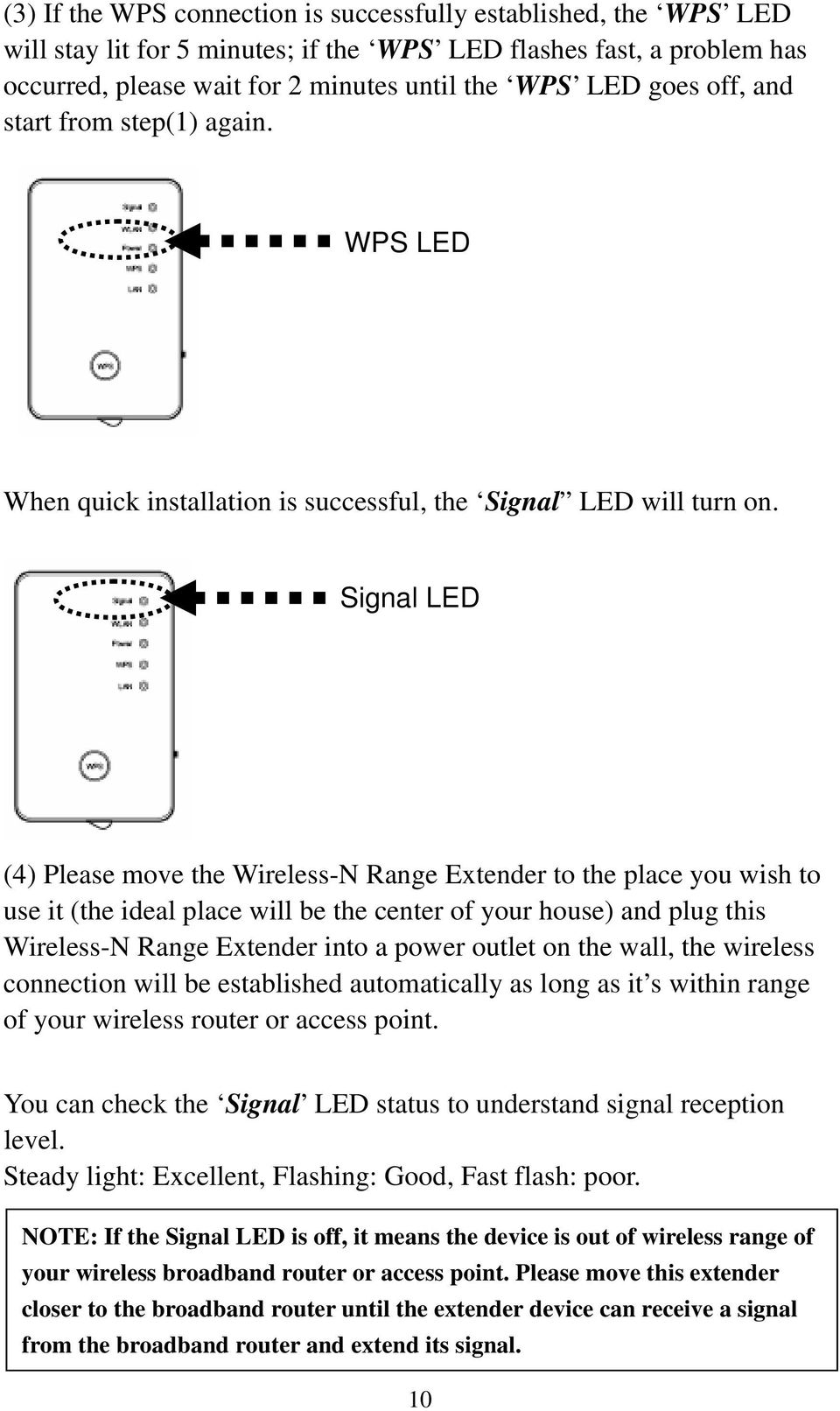 Signal LED (4) Please move the Wireless-N Range Extender to the place you wish to use it (the ideal place will be the center of your house) and plug this Wireless-N Range Extender into a power outlet