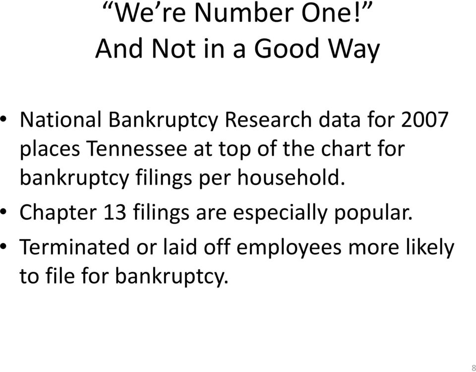 places Tennessee at top of the chart for bankruptcy filings per