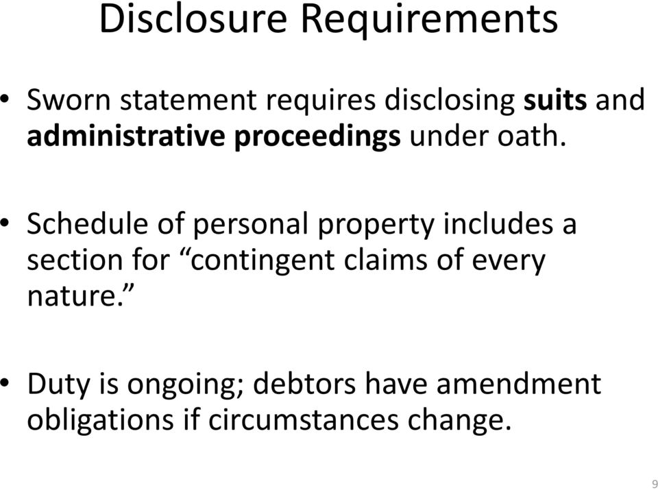 Schedule of personal property includes a section for contingent