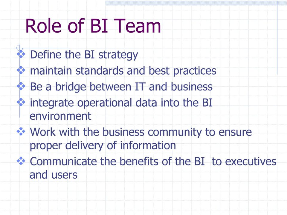 into the BI environment Work with the business community to ensure proper