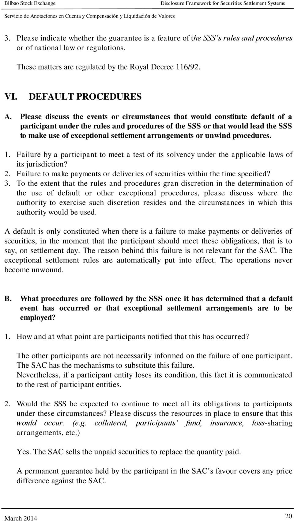 Please discuss the events or circumstances that would constitute default of a participant under the rules and procedures of the SSS or that would lead the SSS to make use of exceptional settlement