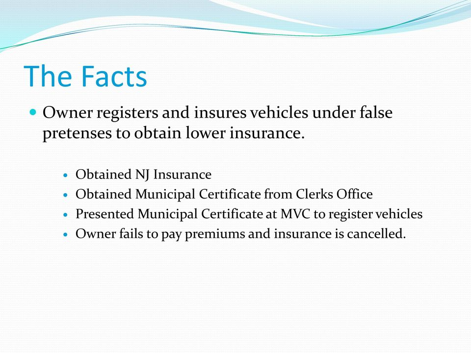 Obtained NJ Insurance Obtained Municipal Certificate from Clerks