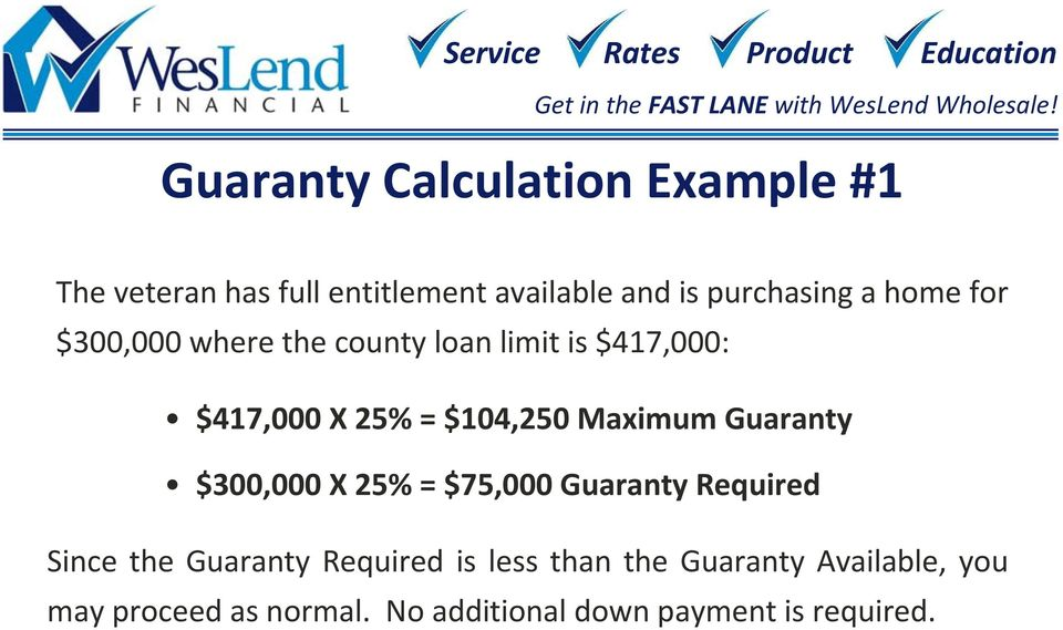 Maximum Guaranty $300,000 X 25% = $75,000 Guaranty Required Since the Guaranty Required is