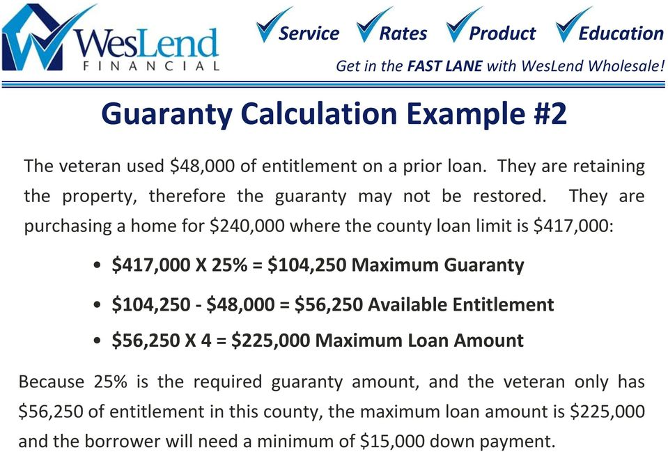 They are purchasing a home for $240,000 where the county loan limit is $417,000: $417,000 X 25% = $104,250 Maximum Guaranty $104,250 $48,000 =