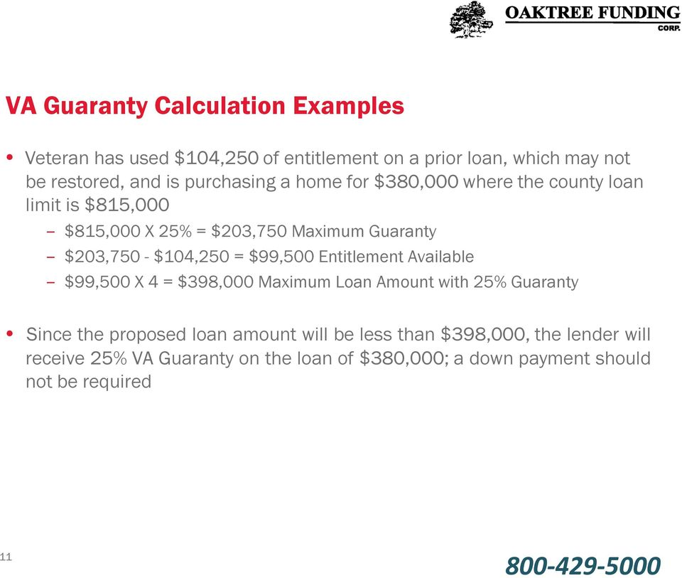 $104,250 = $99,500 Entitlement Available $99,500 X 4 = $398,000 Maximum Loan Amount with 25% Guaranty Since the proposed loan