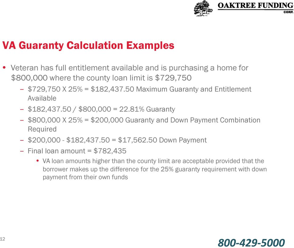 81% Guaranty $800,000 X 25% = $200,000 Guaranty and Down Payment Combination Required $200,000 - $182,437.50 = $17,562.