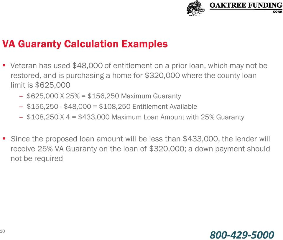 $48,000 = $108,250 Entitlement Available $108,250 X 4 = $433,000 Maximum Loan Amount with 25% Guaranty Since the proposed loan