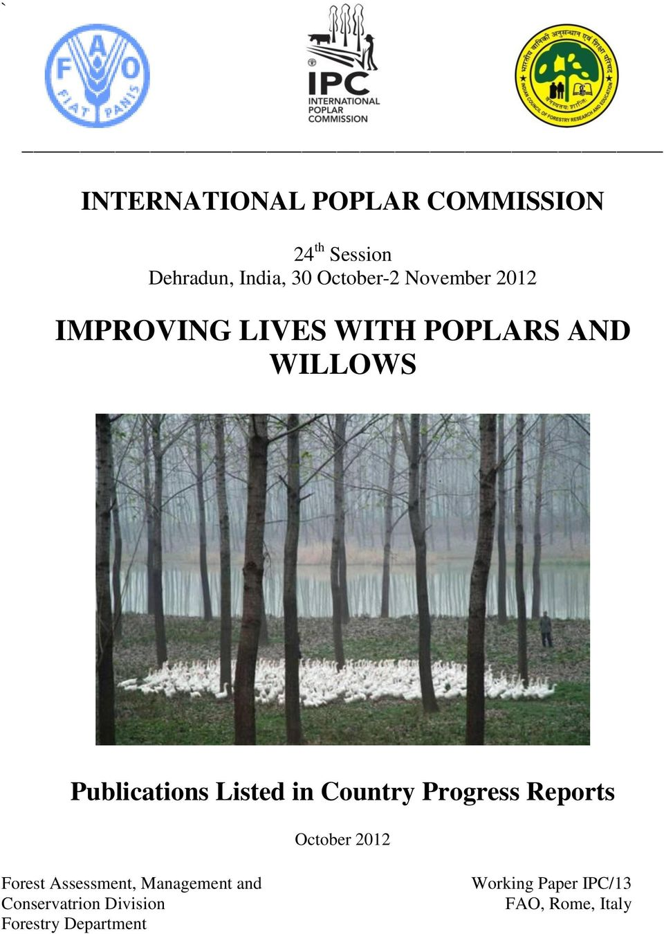 Publications Listed in Country Progress Reports October 2012 Forest