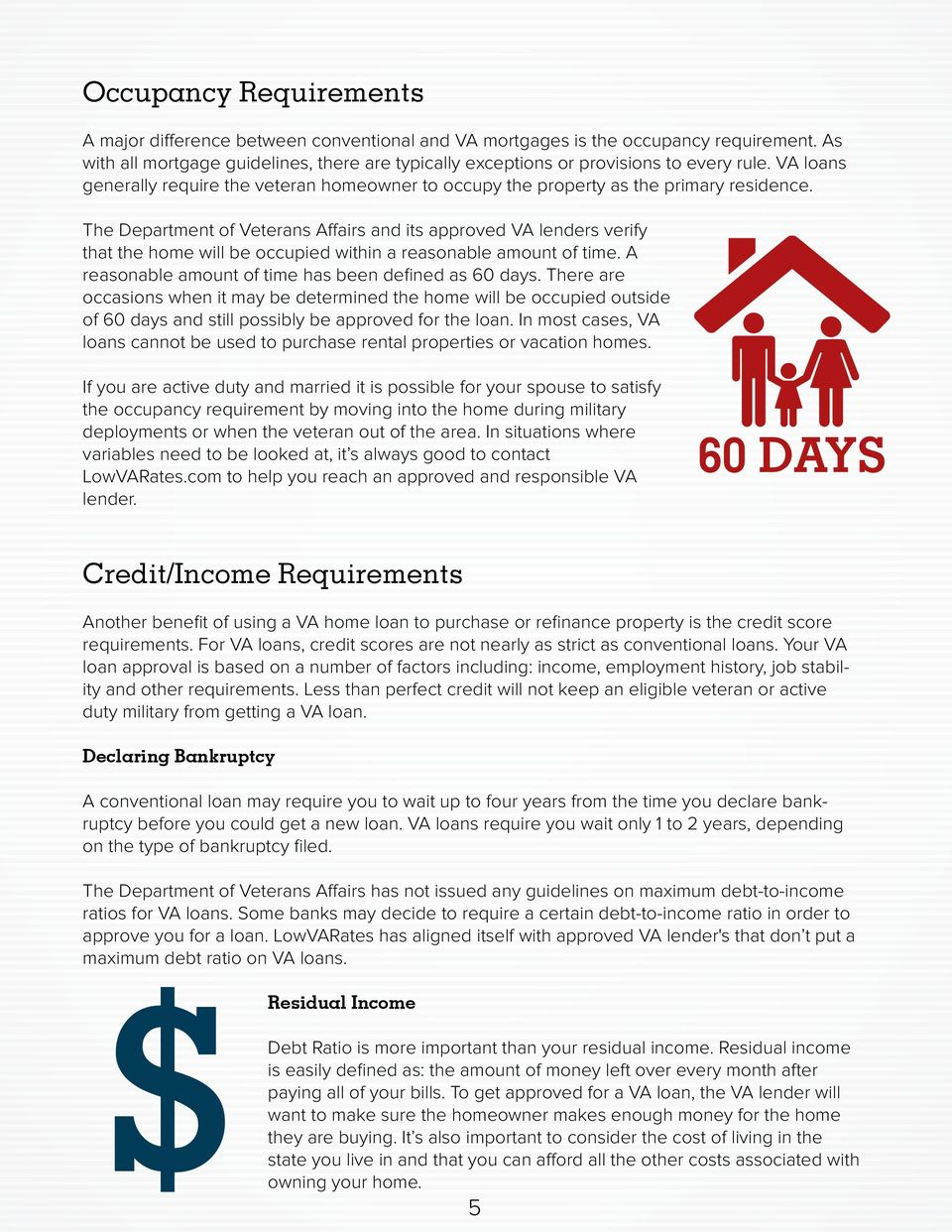 The Department of Veterans Affairs and its approved VA lenders verify that the home will be occupied within a reasonable amount of time. A reasonable amount of time has been defined as 60 days.