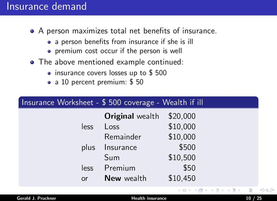 continued: insurance covers losses up to $ 500 a 10 percent premium: $ 50 Insurance Worksheet - $ 500 coverage - Wealth