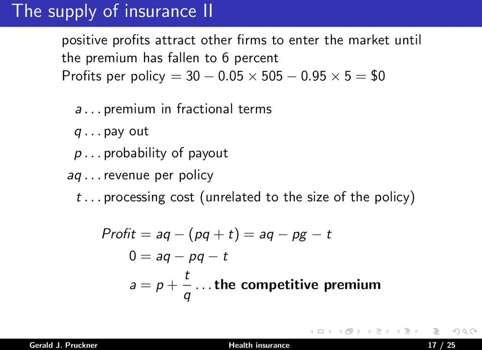 .. probability of payout aq... revenue per policy t.