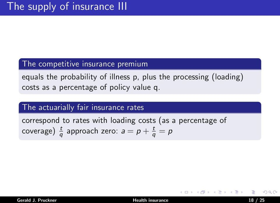 The actuarially fair insurance rates correspond to rates with loading costs (as a