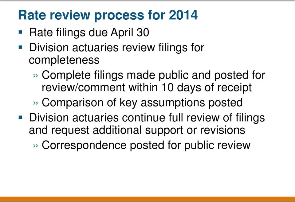 of receipt» Comparison of key assumptions posted Division actuaries continue full review of