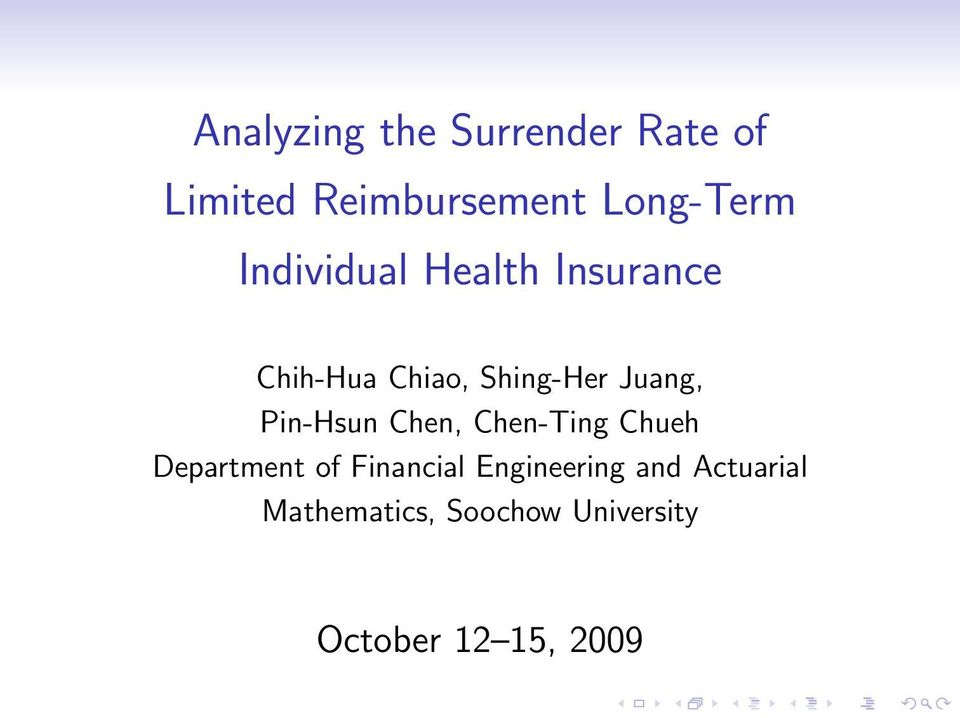 Pin-Hsun Chen, Chen-Ting Chueh Department of Financial