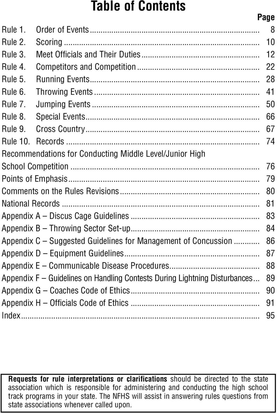 .. 74 Recommendations for Conducting Middle Level/Junior High School Competition... 76 Points of Emphasis... 79 Comments on the Rules Revisions... 80 National Records.