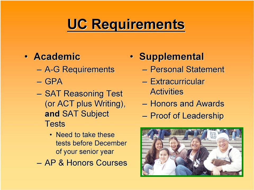 before December of your senior year AP & Honors Courses Supplemental