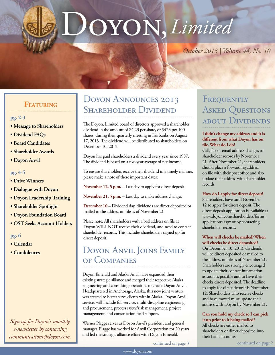 6 Calendar Condolences Sign up for Doyon s monthly e-newsletter by contacting comm