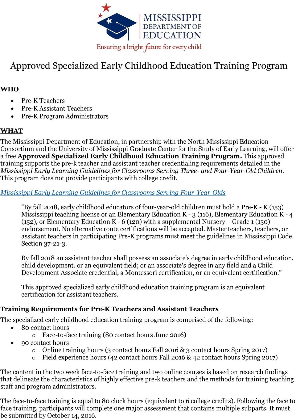 Approved Specialized Early Childhood Education Training Program Pdf