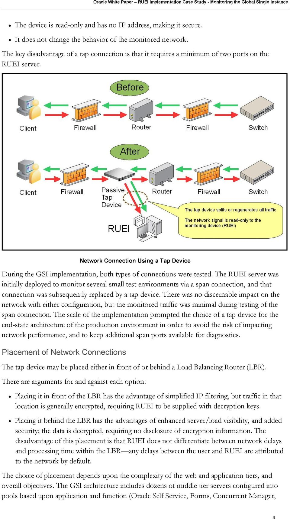 The RUEI server was initially deployed to monitor several small test environments via a span connection, and that connection was subsequently replaced by a tap device.