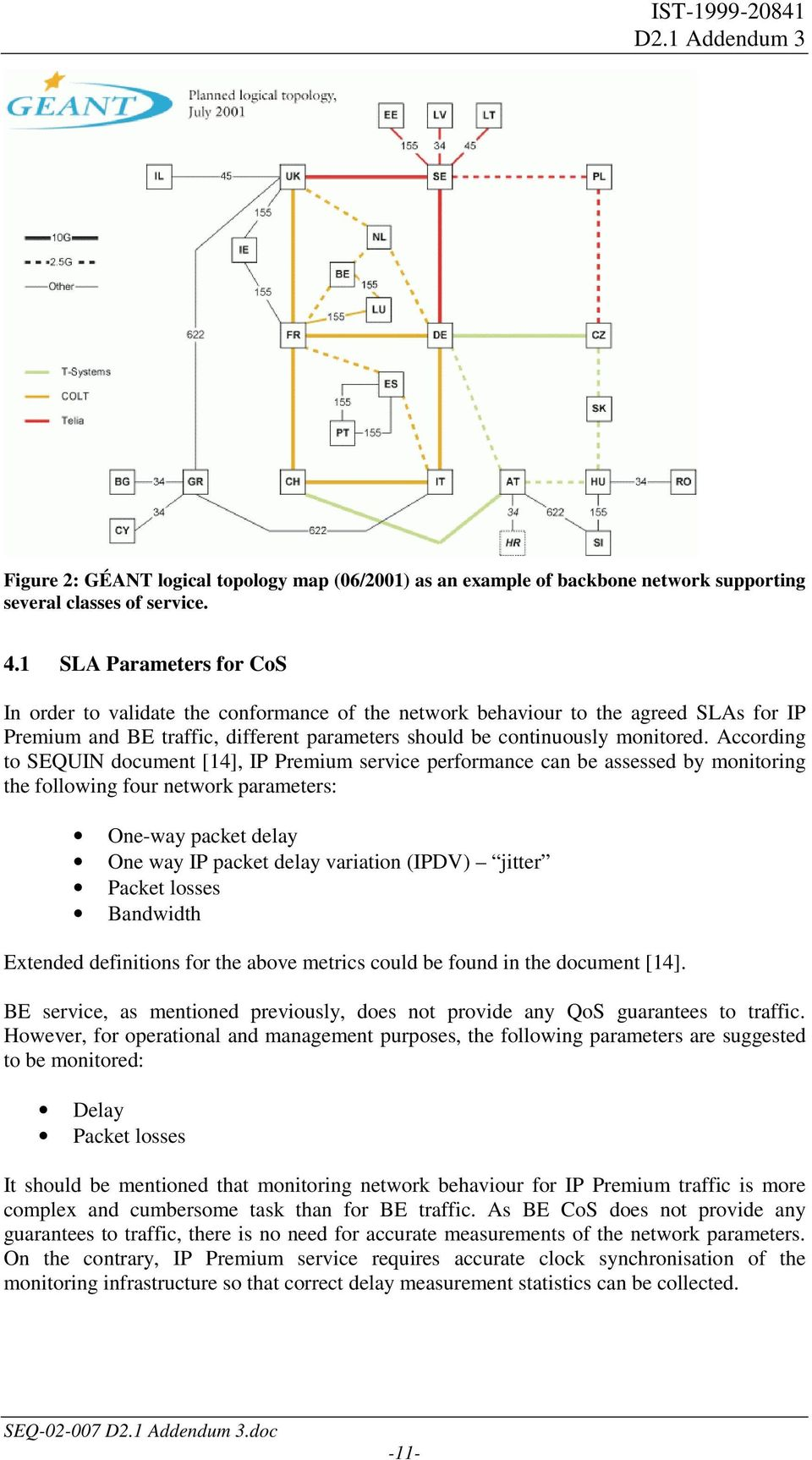 According to SEQUIN document [14], IP Premium service performance can be assessed by monitoring the following four network parameters: One-way packet delay One way IP packet delay variation (IPDV)