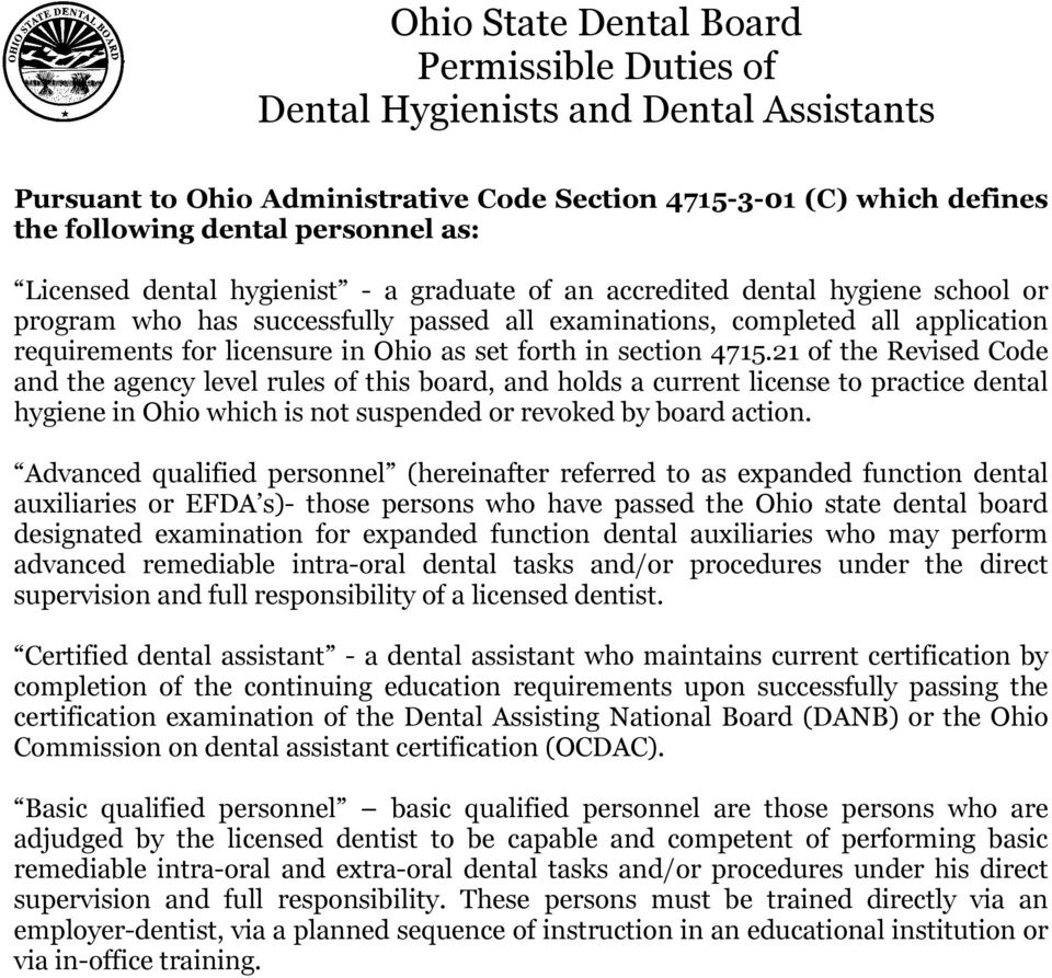 Ohio state dental board permissible duties of dental hygienists and set forth in section 4715 malvernweather Choice Image