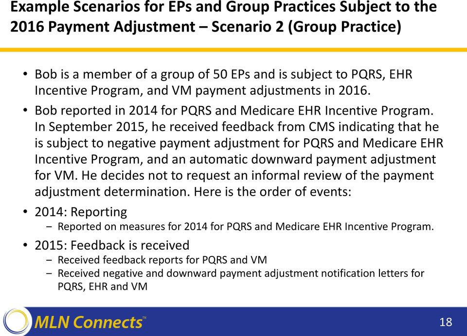 In September 2015, he received feedback from CMS indicating that he is subject to negative payment adjustment for PQRS and Medicare EHR Incentive Program, and an automatic downward payment adjustment