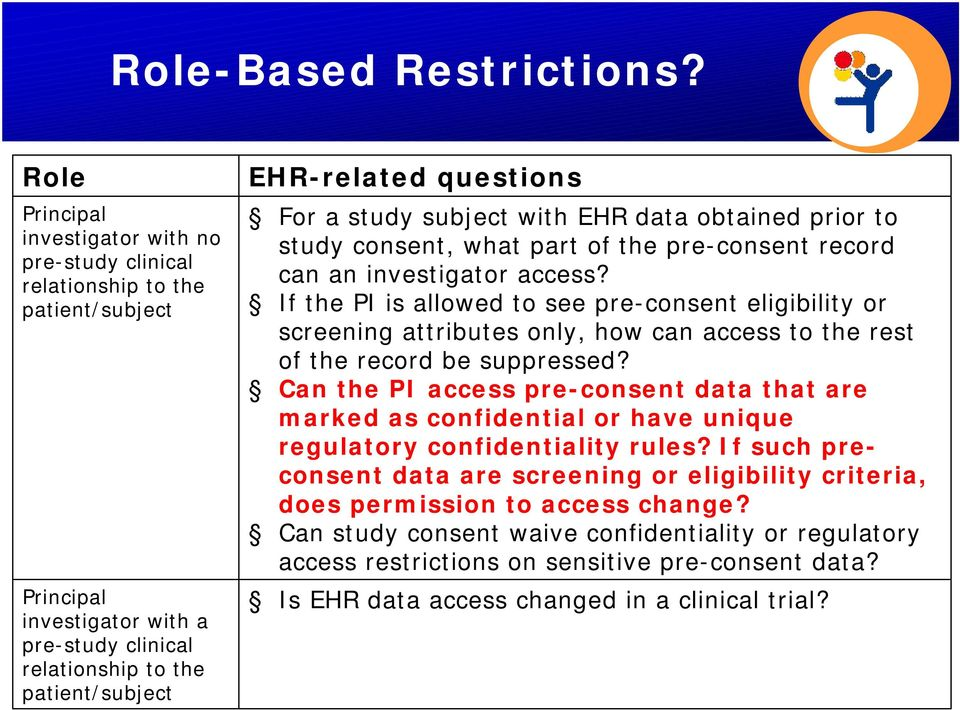 For a study subject with EHR data obtained prior to study consent, what part of the pre-consent record can an investigator access?