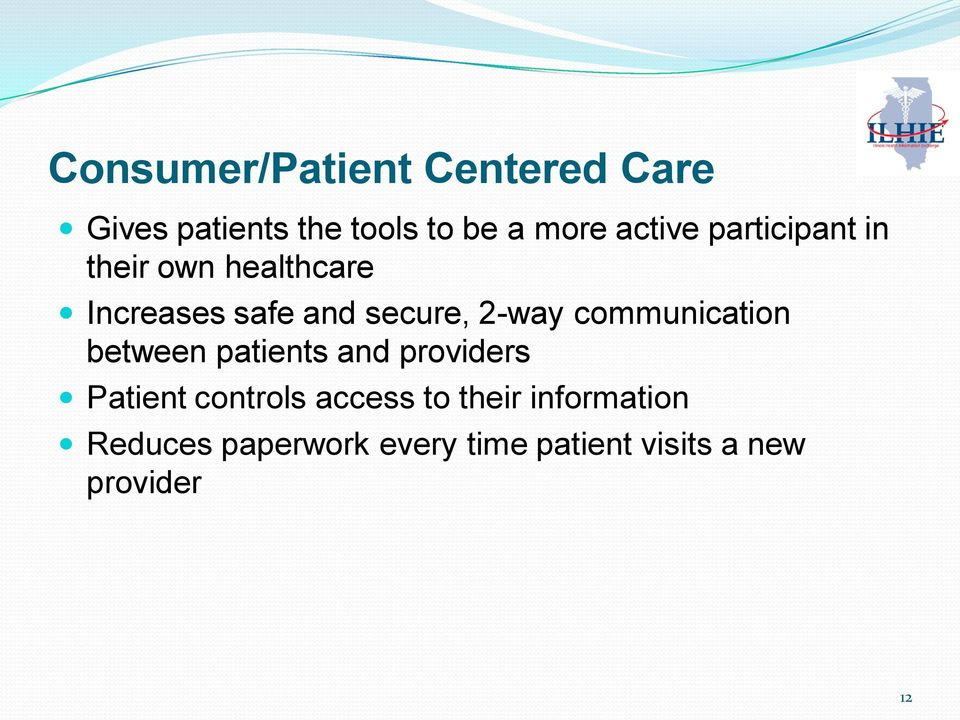 2-way communication between patients and providers Patient controls