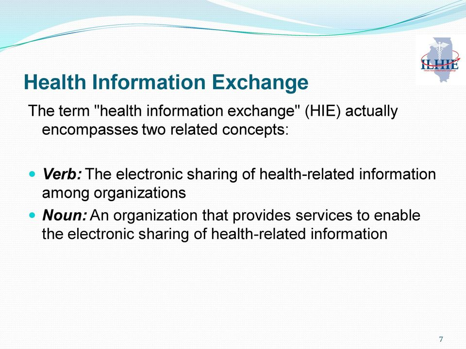 health-related information among organizations Noun: An organization that
