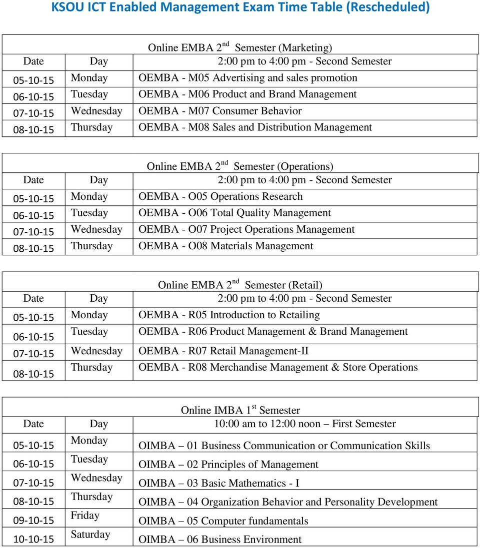 Quality Management 07-10-15 Wednesday OEMBA - O07 Project Operations Management 08-10-15 Thursday OEMBA - O08 Materials Management Online EMBA 2 nd Semester (Retail) 05-10-15 Monday OEMBA - R05