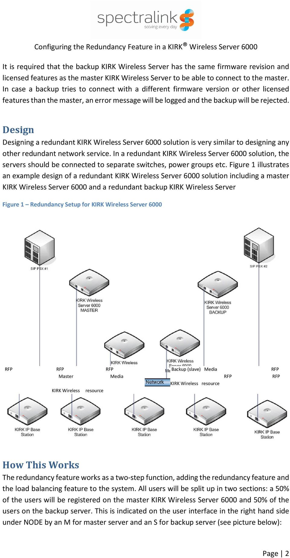 Design Designing a redundant KIRK Wireless Server 6000 solution is very similar to designing any other redundant network service.