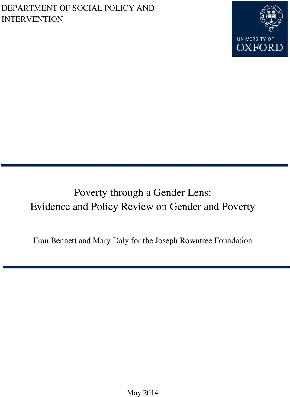 Policy Review on Gender and Poverty Fran Bennett