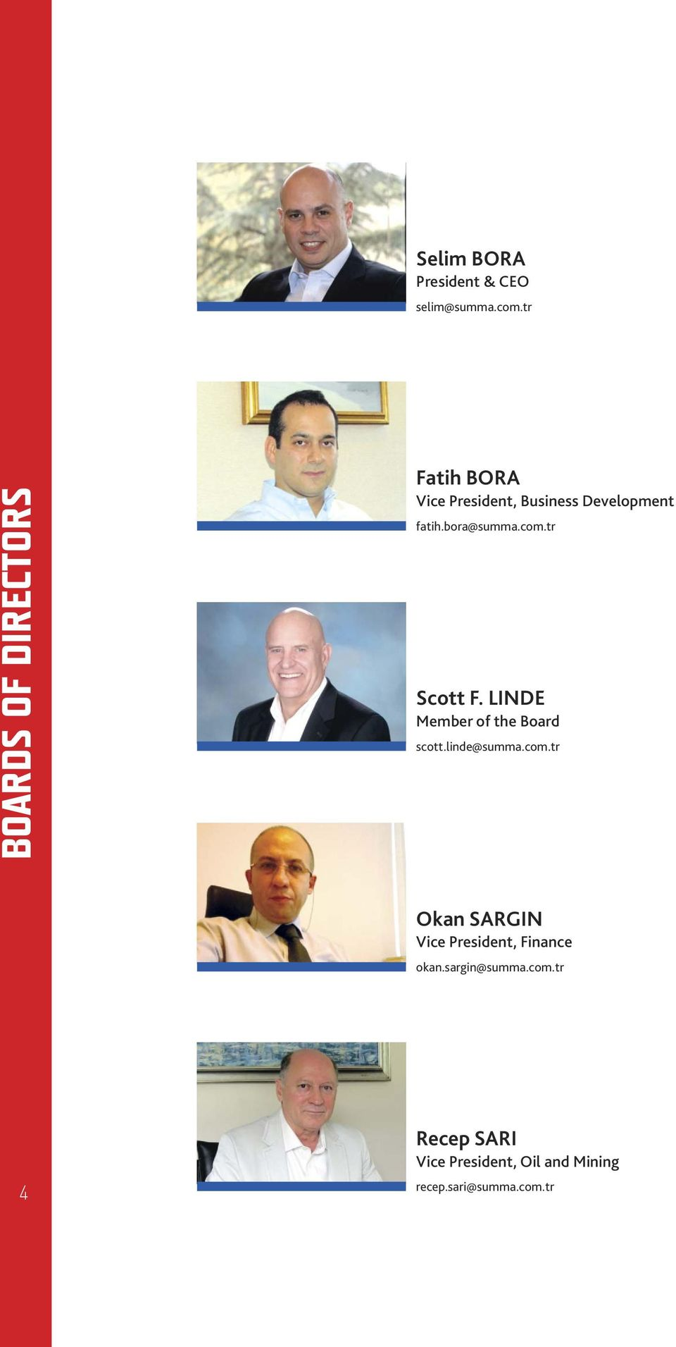 bora@summa.com.tr Scott F. LINDE Member of the Board scott.linde@summa.com.tr Okan SARGIN Vice President, Finance okan.