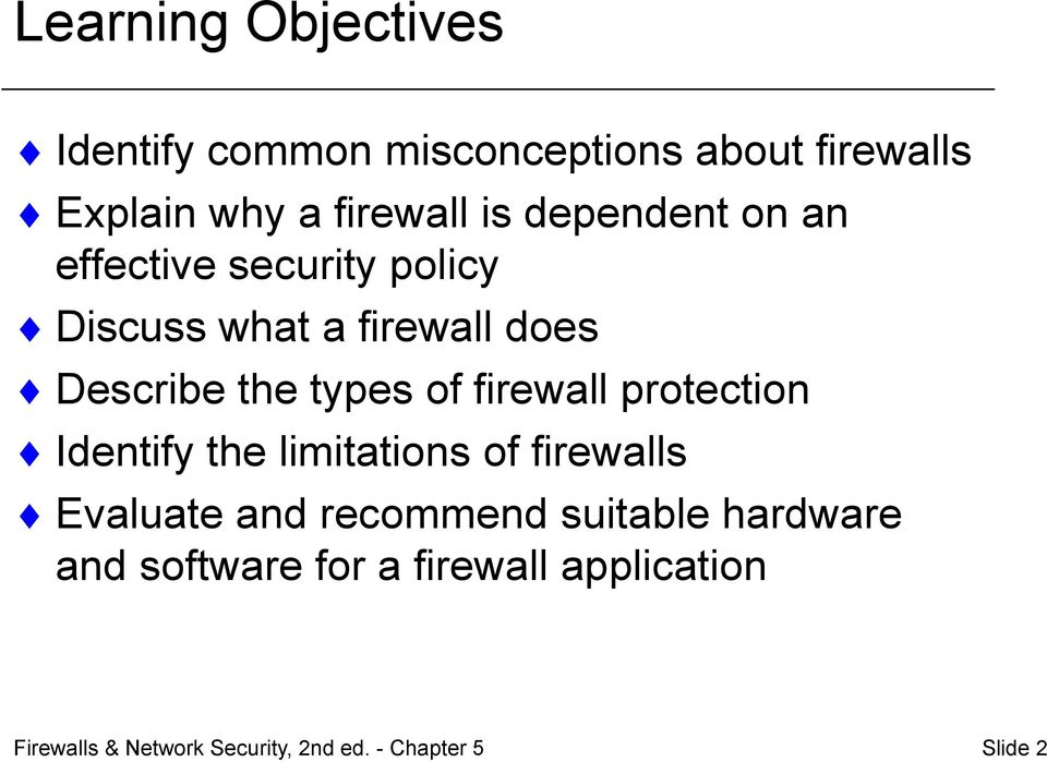 Describe the types of firewall protection Identify the limitations of firewalls